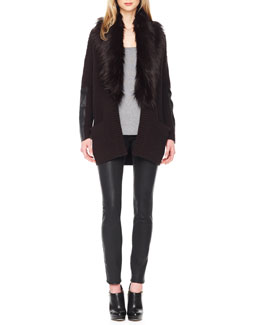 MICHAEL Michael Kors  Faux-Fur-Collar Knit Cardigan, Ribbed Knit Sweater Tank & Waxed Skinny Jeans