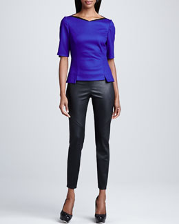 Elie Tahari Lola Peplum Blouse & Roxanna Leather Cropped Pants