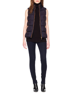 MICHAEL Michael Kors  Puffer Vest,  Ribbed Sleeveless Turtleneck &  Waxed Skinny Jeans