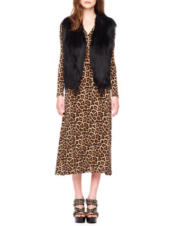 MICHAEL Michael Kors  Open Goat Fur Vest & Leopard-Print Twist Dress
