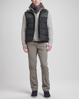 Loro Piana Gilet Laax Puffer Vest, Whelk Sea Cable-Knit Sweater & Five-Pocket Pants