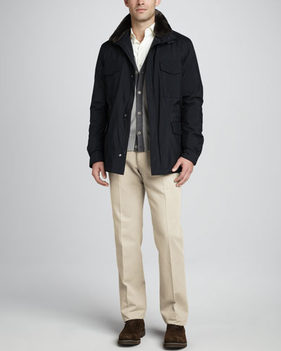 Loro Piana Traveler Jacket with Fur Collar, Seamless Cashmere Cardigan, Alain Woven-Silk Shirt & Four-Pocket Twill Pants