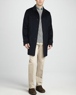 Loro Piana City Trench Coat, Long-Sleeve Pique Polo, Cable-Knit Cashmere Sweater & Twill Pants
