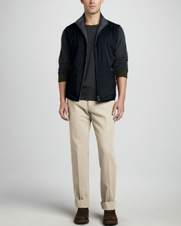 Loro Piana Reversible Full-Zip Vest, Seamless Crewneck Sweater & Four-Pocket Twill Pants