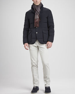 Loro Piana Wind Stretch Storm System Puffer Jacket, Long-Sleeve Knit Polo, 4-Pocket Sport Pants & Notting Hill Printed Scarf