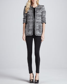Alice + Olivia Luci Metallic Tweed Coat, Iryna Scallop-Bead Tee & Ponte/Leather Combo Leggings