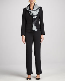 Eileen Fisher Tropical Suiting Jacket, Pants, Cap-Sleeve Jersey Tee & Shibori Geometry Chiffon Scarf, Women's
