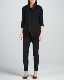 Eileen Fisher Boiled Wool Asymmetric-Zip Jacket, Jersey Top &  Skinny Ankle Zip Pants