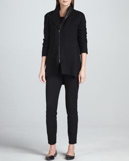 Eileen Fisher Boiled Wool Asymmetric-Zip Jacket, Jersey Top &  Skinny Ankle Zip Pants, Petite