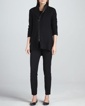 Boiled Wool Asymmetric-Zip Jacket, Jersey Top & Skinny Ankle Zip Pants, ...