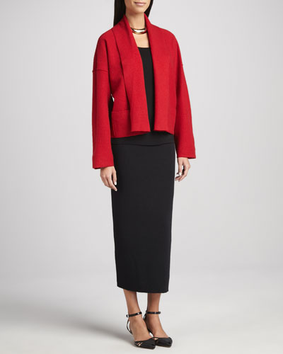 Eileen Fisher Boiled Wool Kimono Jacket, Silk Jersey Camisole & Calf-Length Pencil Skirt, Petite