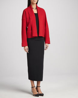 Eileen Fisher Boiled Wool Kimono Jacket, Silk Jersey Camisole & Ankle-Length Wool Pencil Skirt, Women's