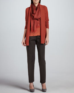 Eileen Fisher Merino Links Long Cardigan, Tank, Heavyweight Rayon Slim Pants & Cross-Dyed Silk/Cashmere Wrap