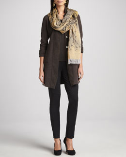 Eileen Fisher Felted Merino Long Jacket, Jersey Top, Ankle-Zip Pants & Printed Scarf