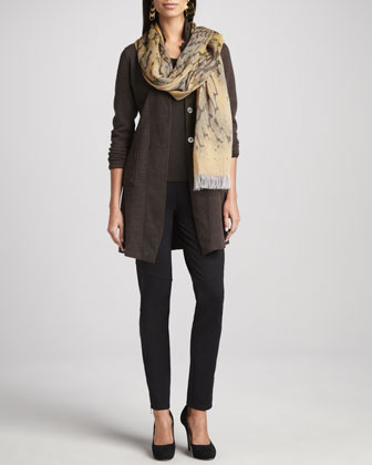 Belted Merino Long Jacket, Jersey Top, Ankle-Zip Pants & Printed Scarf, ...