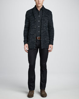 John Varvatos Star USA Melange-Knit Cardigan, Slim-Fit Check Long-Sleeve Shirt & Bowery Rinsed Glass Jeans