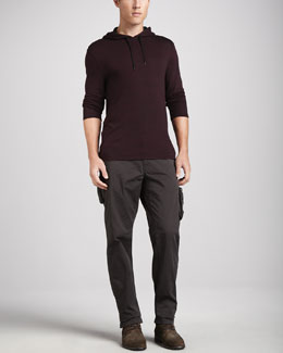John Varvatos Star USA Raw-Edge Long-Sleeve Hoodie & Explorer Enzyme-Wash Cargo Pants