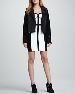 Rebecca Minkoff Wolf Knit-Sleeve Leather Jacket & Clarissa Two-Tone Bustier Dress