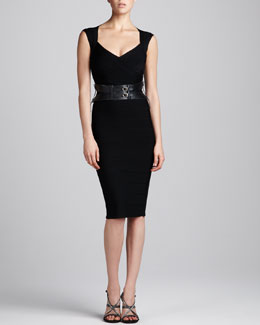 Herve Leger Cap-Sleeve Bandage Dress & Double-Buckle Leather Belt
