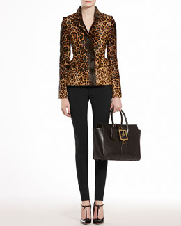 GUCCI Jaguar Printed Calf Hair Jacket, Fine Viscose Tank Top & Napa Leather Leggings