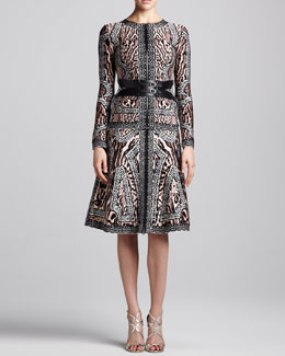 Herve Leger Animal-Print Zip Bandage Jacket & Printed A-Line Skirt