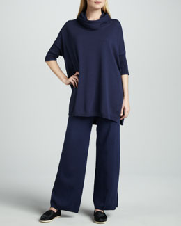 Joan Vass Cowl-Neck Oversized Tunic & Wide-Leg Knit Pants