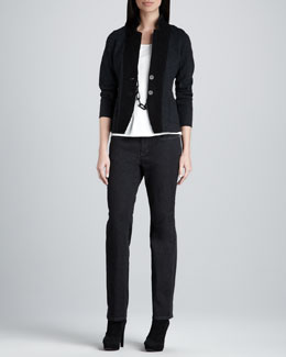 Eileen Fisher Notch Collar Jacket, Silk-Jersey Cap-Sleeve Tee & Organic Soft Straight-Leg Jeans