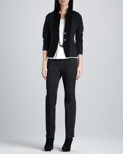 Eileen Fisher Notch Collar Jacket, Silk-Jersey Cap-Sleeve Tee & Organic Soft Straight-Leg Jeans
