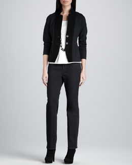 Eileen Fisher Notch Collar Jacket, Silk-Jersey Cap-Sleeve Tee & Organic Soft Straight-Leg Jeans, Petite