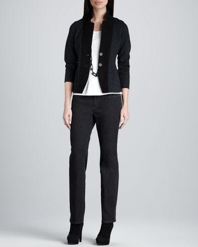 Eileen Fisher Notch Collar Jacket, Silk-Jersey Cap-Sleeve Tee & Organic Soft Straight-Leg Jeans, Petite