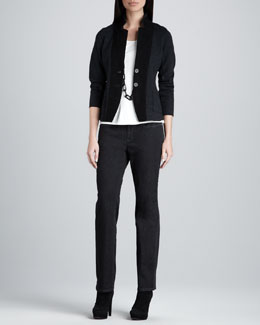 Eileen Fisher Notch Collar Jacket, Silk-Jersey Cap-Sleeve Tee & Organic Soft Straight-Leg Jeans, Women's