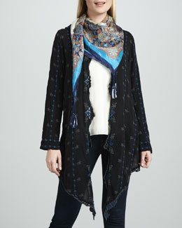 Johnny Was Collection Roney Embroidered Wrap Jacket, Silk Habutai Tank & Tierra-Print Silk Scarf