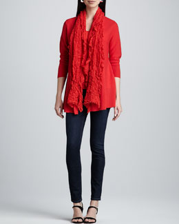 Eileen Fisher Merino Links Cardigan, Slim Tank, Gauzy Wool Pucker Scarf & Skinny Jeans