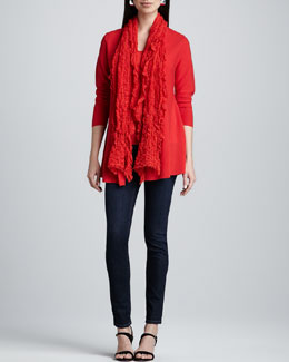 Eileen Fisher Merino Links Cardigan, Slim Tank, Gauzy Wool Pucker Scarf & Skinny Jeans, Women's