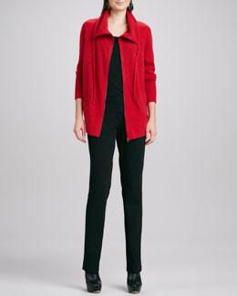 Eileen Fisher Drawstring Zip Cardigan, Organic-Cotton Slim Tank & Slim Leather-Trim Pants