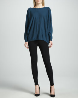 Lafayette 148 New York Dropped-Hem Sweater & Punto Milano Leggings