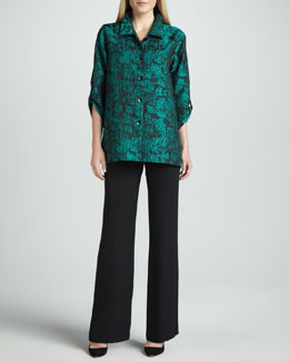 Caroline Rose Mystic Printed Shirt & Wide-Leg Silk Crepe Pants
