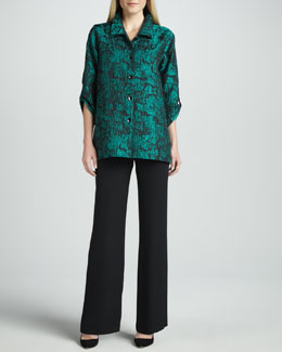 Caroline Rose Mystic Printed Shirt & Wide-Leg Silk Crepe Pants, Women's