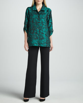 Mystic Printed Shirt & Wide-Leg Silk Crepe Pants, Women's