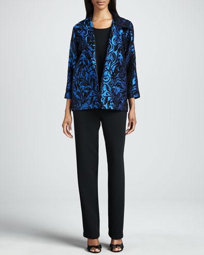 Caroline Rose Chenille Vines Easy Shirt, Microfiber Long Tank & Straight-Leg Pants