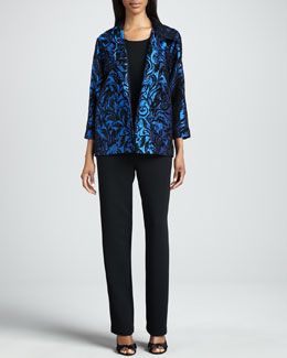 Caroline Rose Chenille Vines Easy Shirt, Microfiber Long Tank & Straight-Leg Pants, Petite
