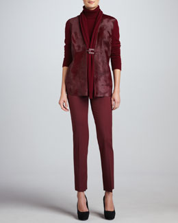 Lafayette 148 New York Fur-Front Cardigan, Cashmere Turtleneck & Bleecker Pants