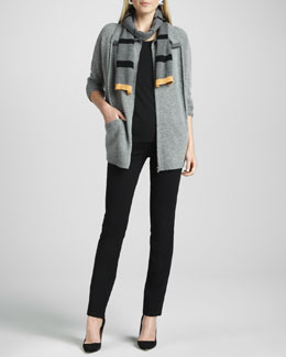 Eileen Fisher Funnel-Neck Zip Cardigan, Long Lean Jersey Top, Ponte Skinny Jeans & Striped Scarf