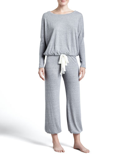 Eberjey Slouchy Drawstring Tee & Pants, Gray Heather