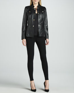 Lafayette 148 New York Leather Jacket & Viscose Jersey Leggings