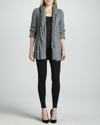 Lafayette 148 New York Oversized Cable Ribbed Cardigan & Stretch Viscose Jersey Leggings