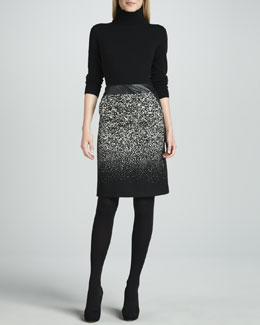 Lafayette 148 New York Long-Sleeve Turtleneck & Bruana Leather-Waist Skirt