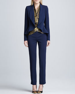 Lafayette 148 New York Cascade Collar Trula Jacket & Crepe Bleecker Pants