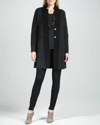 Felted Merino Long Jacket, Cozy Long Lean Top & Stretchy Jean Leggings ...
