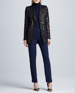 Lafayette 148 New York Dannette Multicolored One-Button Jacket, Fine-Gauge Merino Turtleneck & Bleecker Crepe Pants
